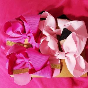 Four Pack Pink Pencil Hair Bows